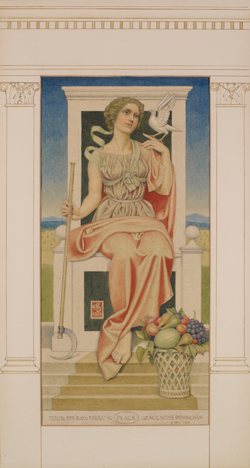 Sketch for Peace by Joseph Southall, 1937 [© Reproduced with permission of the Barrow Family. Birmingham Museums Trust: 1981P71]