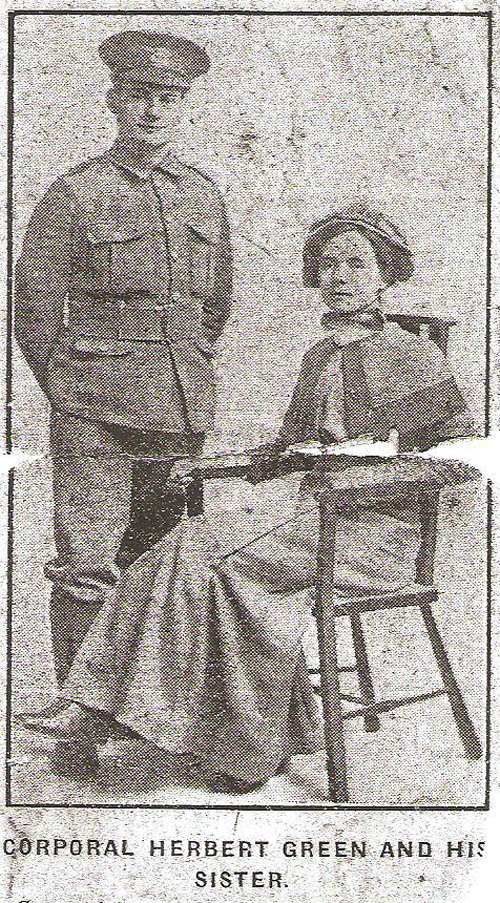 Corporal Herbert William Green and his Sister [Courtesy of Andrew Thornton]