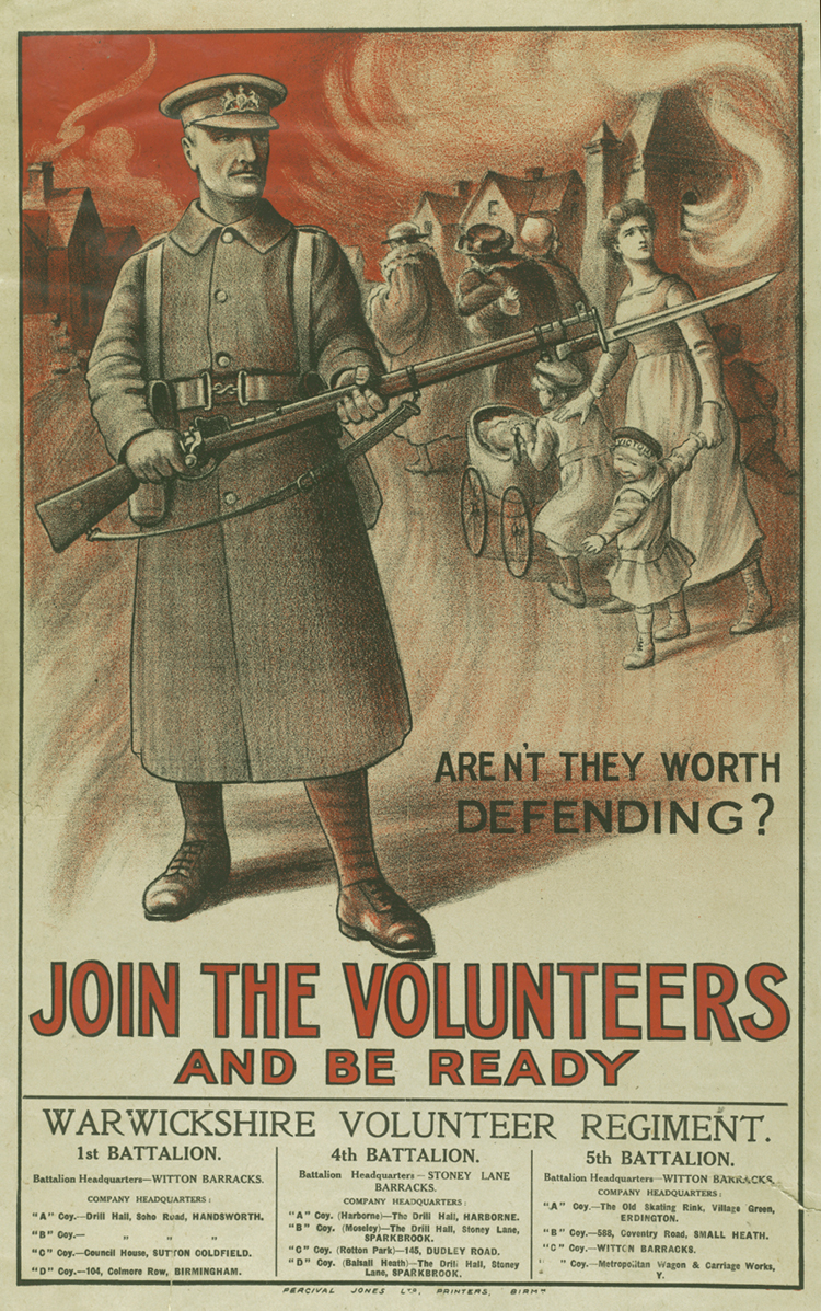 Recruitment poster for the Warwickshire Volunteer Regiment [Library of Birmingham: LE]