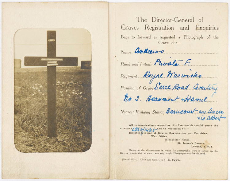 Record of the grave of Private Andrews [Birmingham Museums Trust: 1999F47.10]