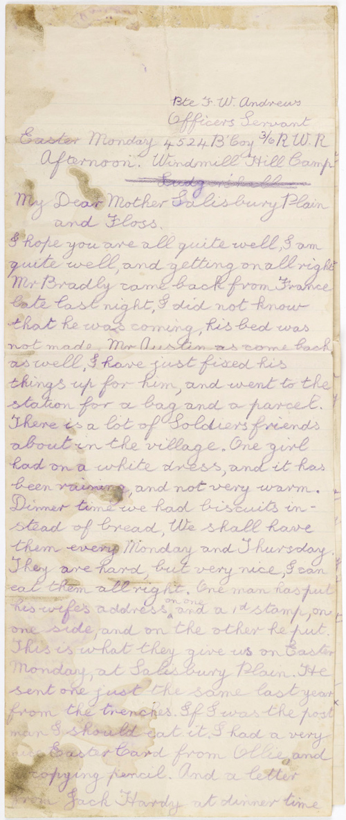 Letter from Fred Andrews, 1916 [Birmingham Museums Trust: 1999F47.4]