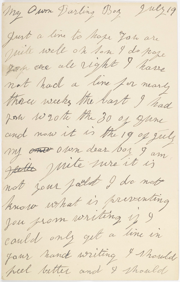 Letter from Mrs Andrews, 1916 [Birmingham Museums Trust: 1999F47.8]