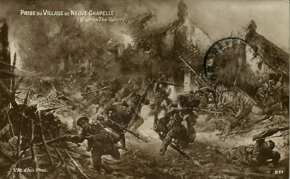 British Infantry charging into action at the Battle of Neuve Chapelle (10 - 13 March 1915)